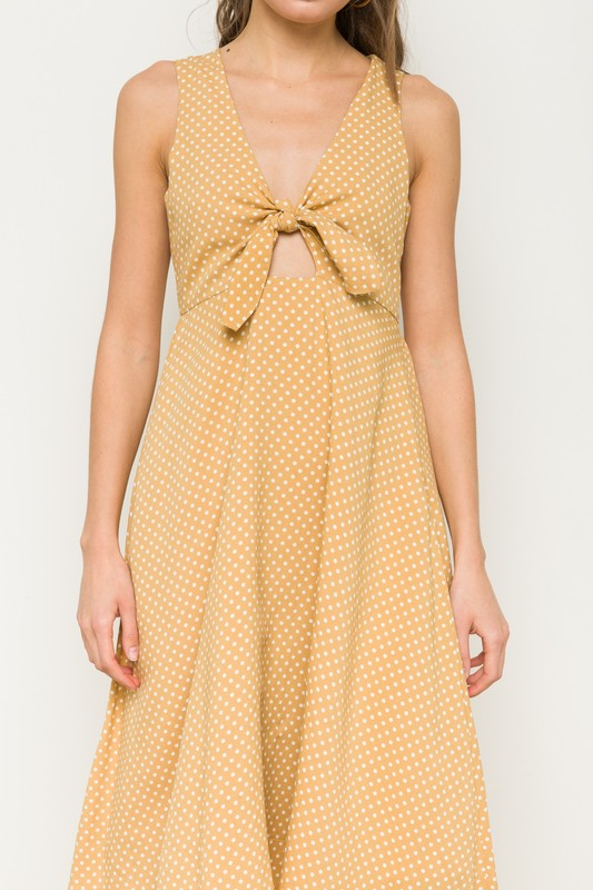 Hem & Thread Tie Knot Front Sleeveless Dress