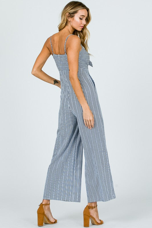 And Merci Cut Out Stripe Jumpsuit