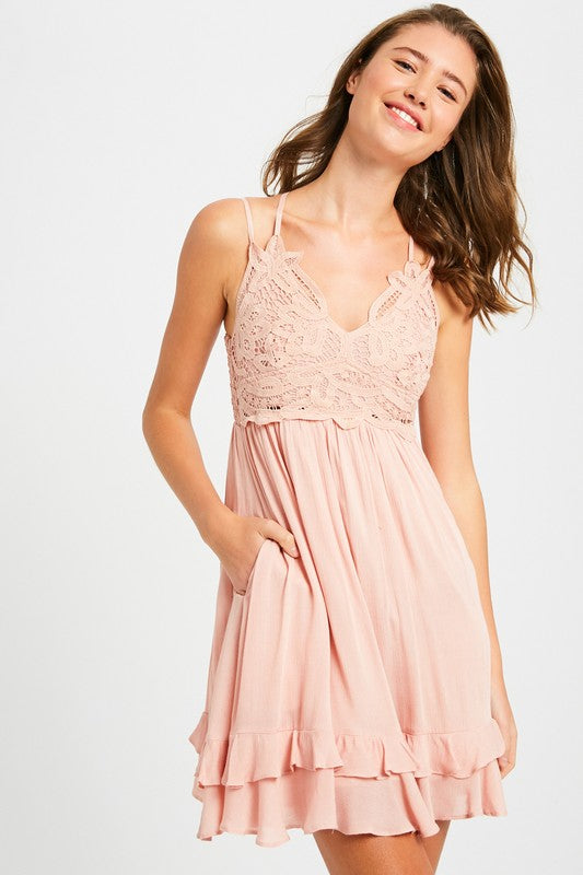 CROCHET PATCH V-NECK LAYERED RUFFLE DRESS