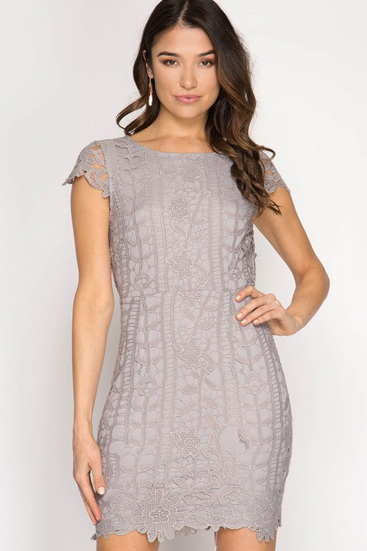 CAP SLEEVE LACE DRESS WITH OPEN BACK