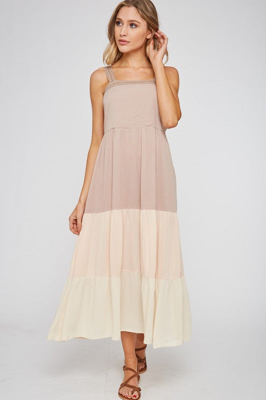 Color Block Ruffle Maxi