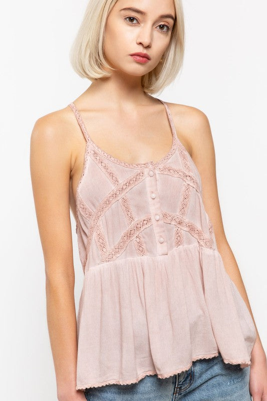 Pol Lace Trimmed Babydoll Top