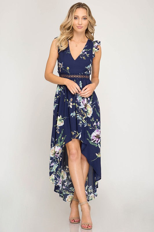 SHORT RUFFLE SLEEVE FLORAL PRINT HI-LOW MAXI DRESS