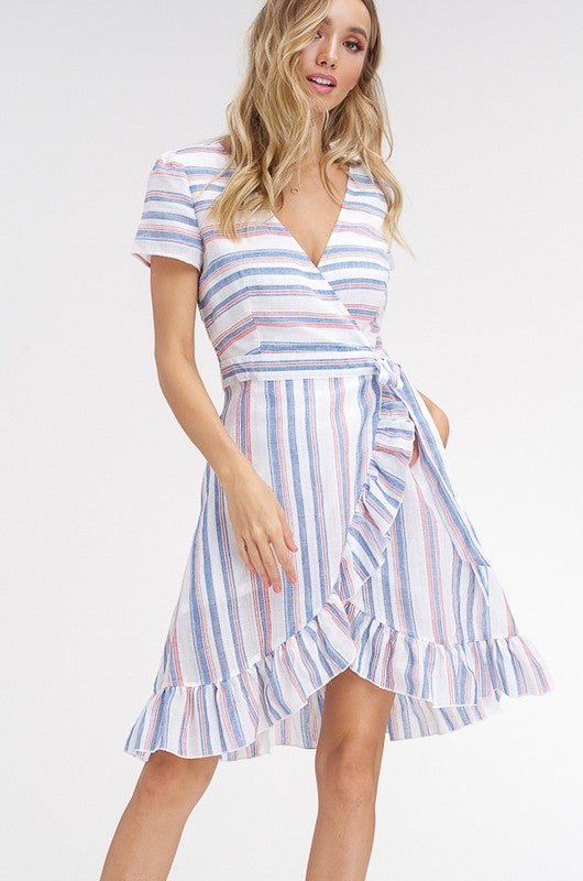 MULTI STRIPED RUFFLE WRAP DRESS
