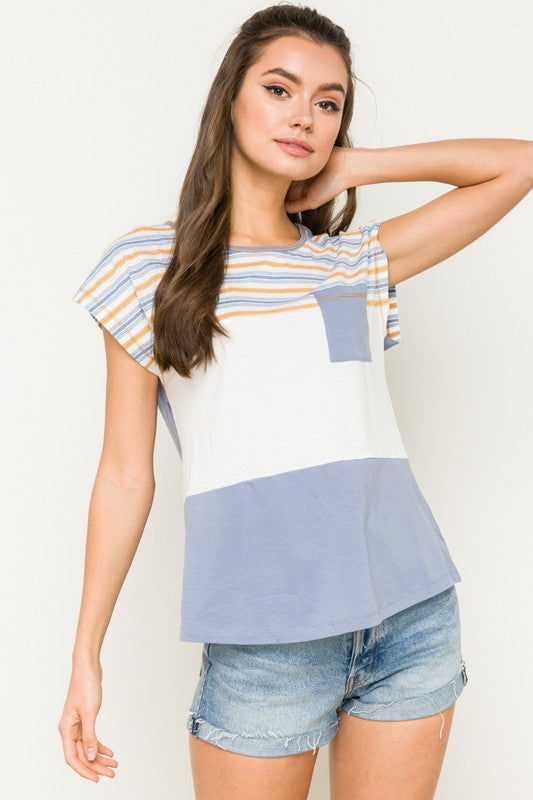 Blue White Mustard Top