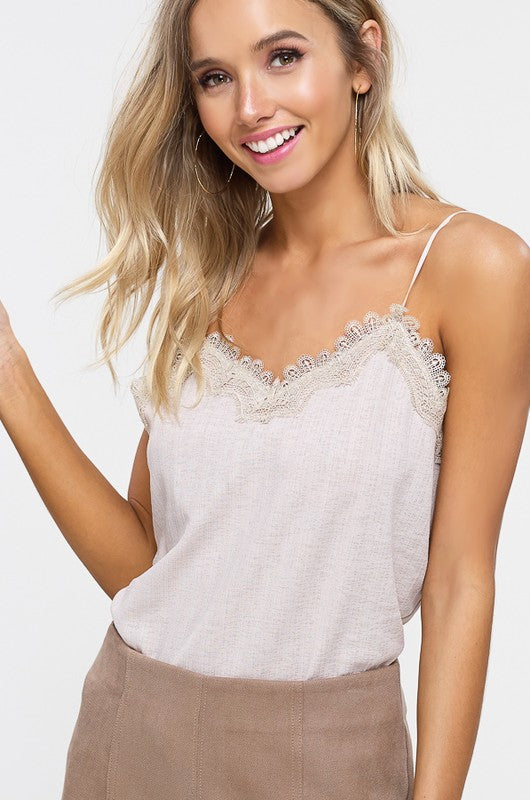 TEXTURED CAMISOLE WITH LACE