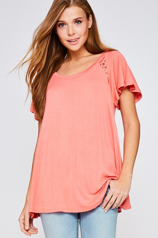 Lace Up Sleeve Tee