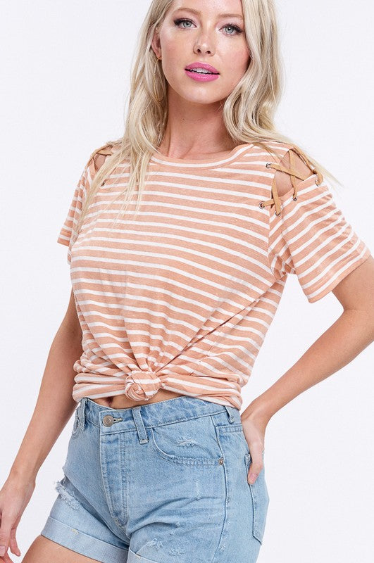 Listicle Stripe Jersey Criss Cross Top