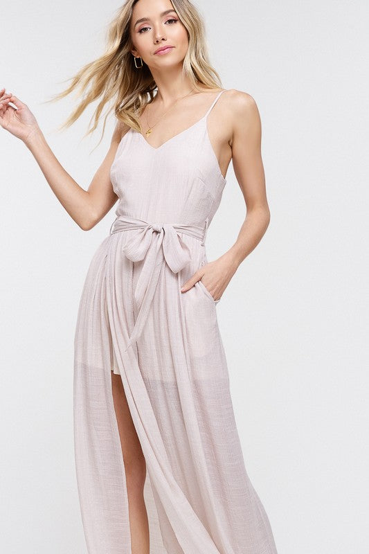 TEXTURED SPLIT LEG JUMPSUIT