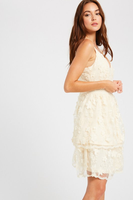 Floral embroider layered cocktail dress