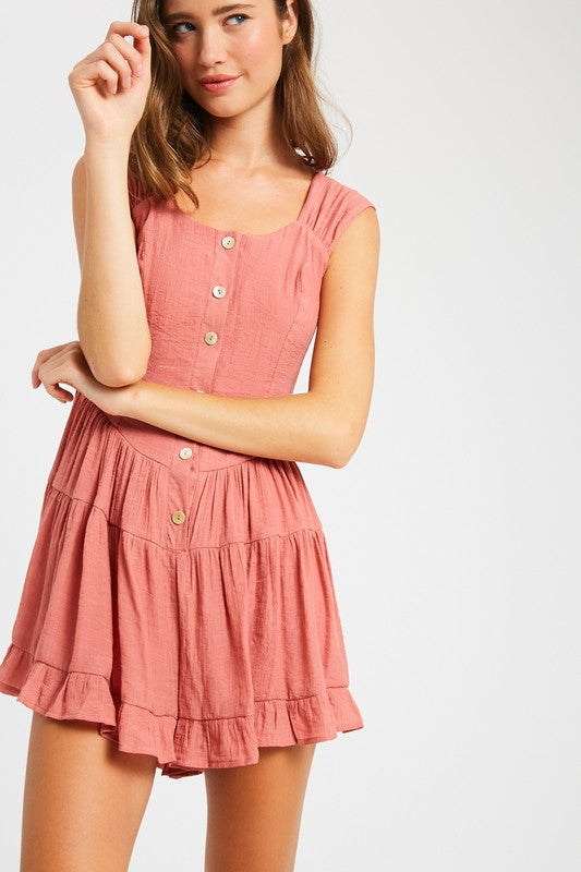 TEXTURED RUFFLE FLARE BUTTON DOWN ROMPER