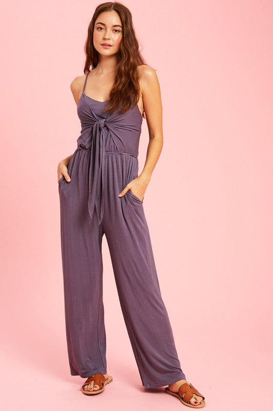 FRONT TIE JERSEY JUMPSUIT WITH DEEP KEYHOLE BACK