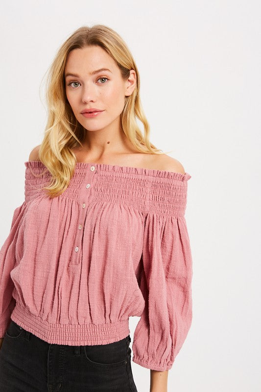 OFF THE SHOULDER BUTTON DOWN BLOUSE