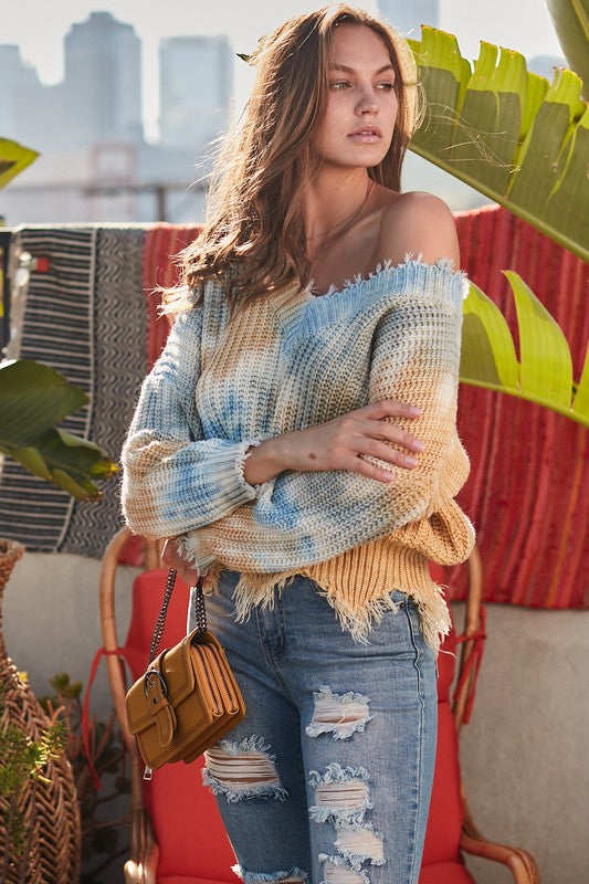 Distressed V Neck Loose Fit Tie-Dye Sweater
