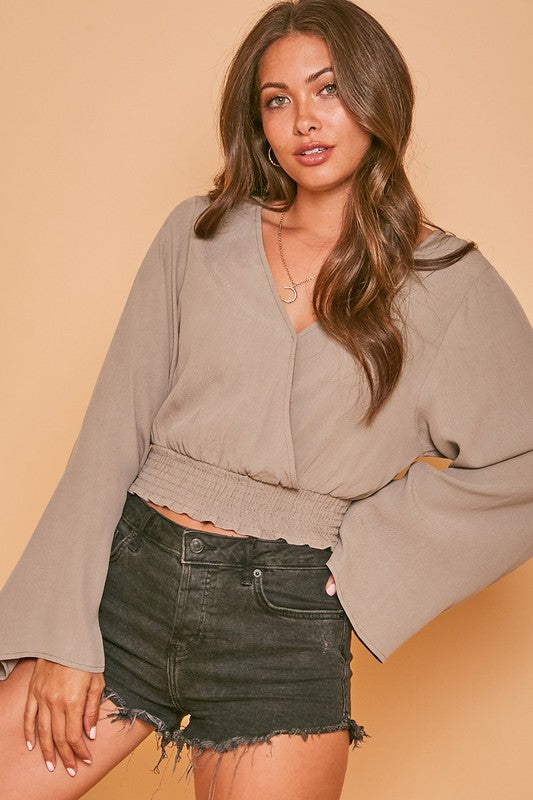Long Sleeve Woven Smocked Waist Cropped Blouse