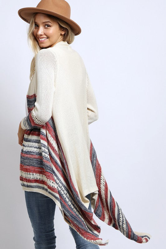 MULTI STRIPE LIGHT WEIGHT KNITTED CARDIGAN