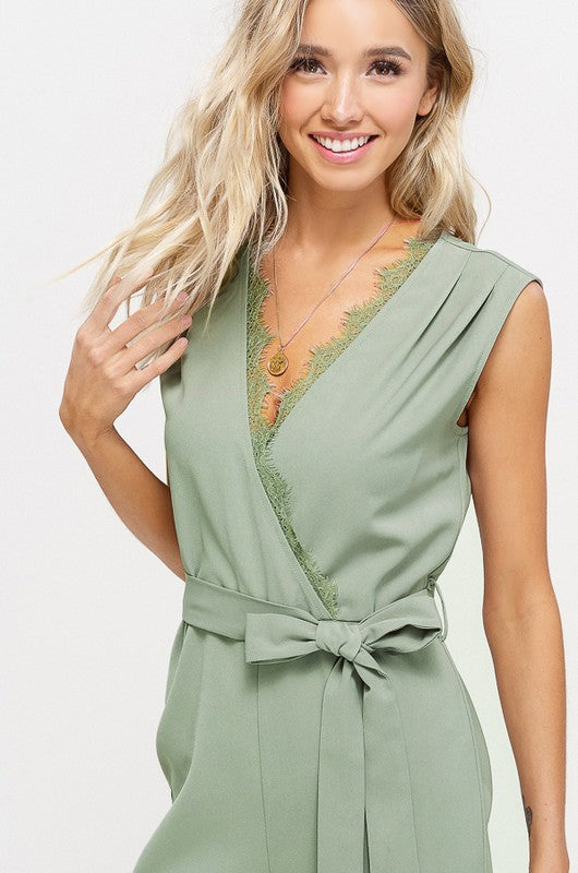 V-NECK SLEEVELESS JUMPSUIT WITH LACE