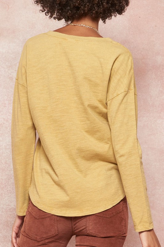 Mineral Washed Long Sleeve V-Neck Pocket Tee