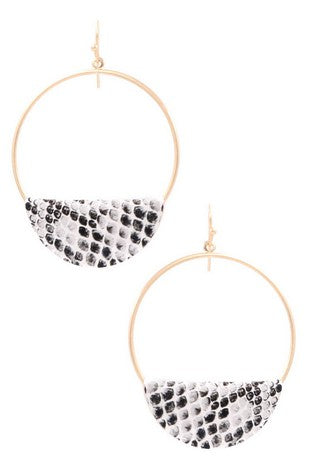 Faux leather hoop drop earrings