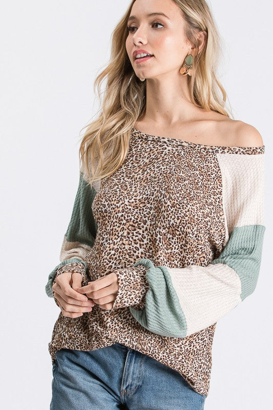 ANIMAL PRINT WAFFLE KNIT STRIPE SLEEVE COLOR BLOCK TOP