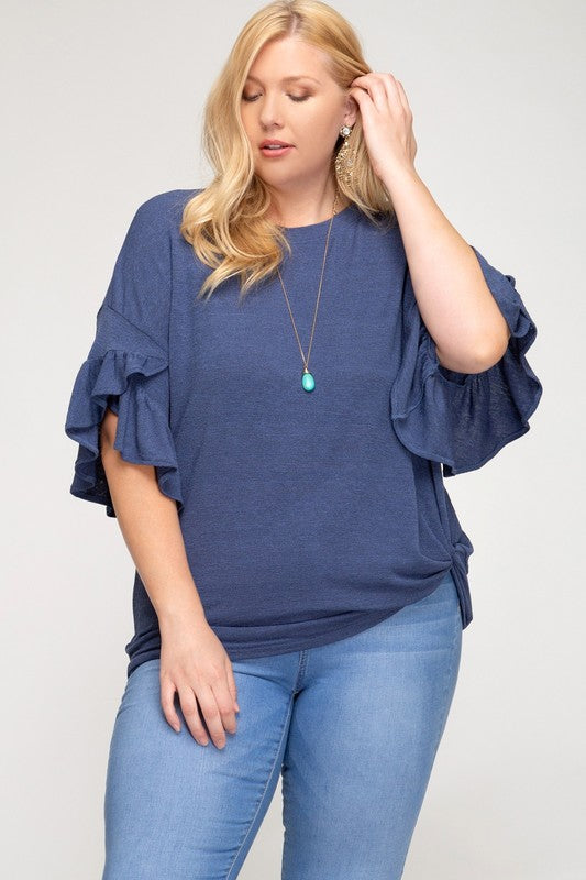 RUFFLED SLEEVE KNIT TOP WITH SIDE TWIST DETAIL