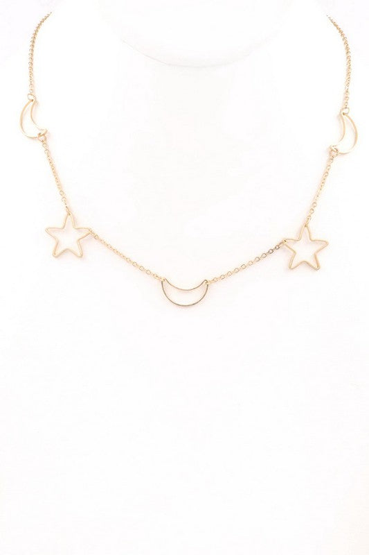 Metal moon/star cut out necklace