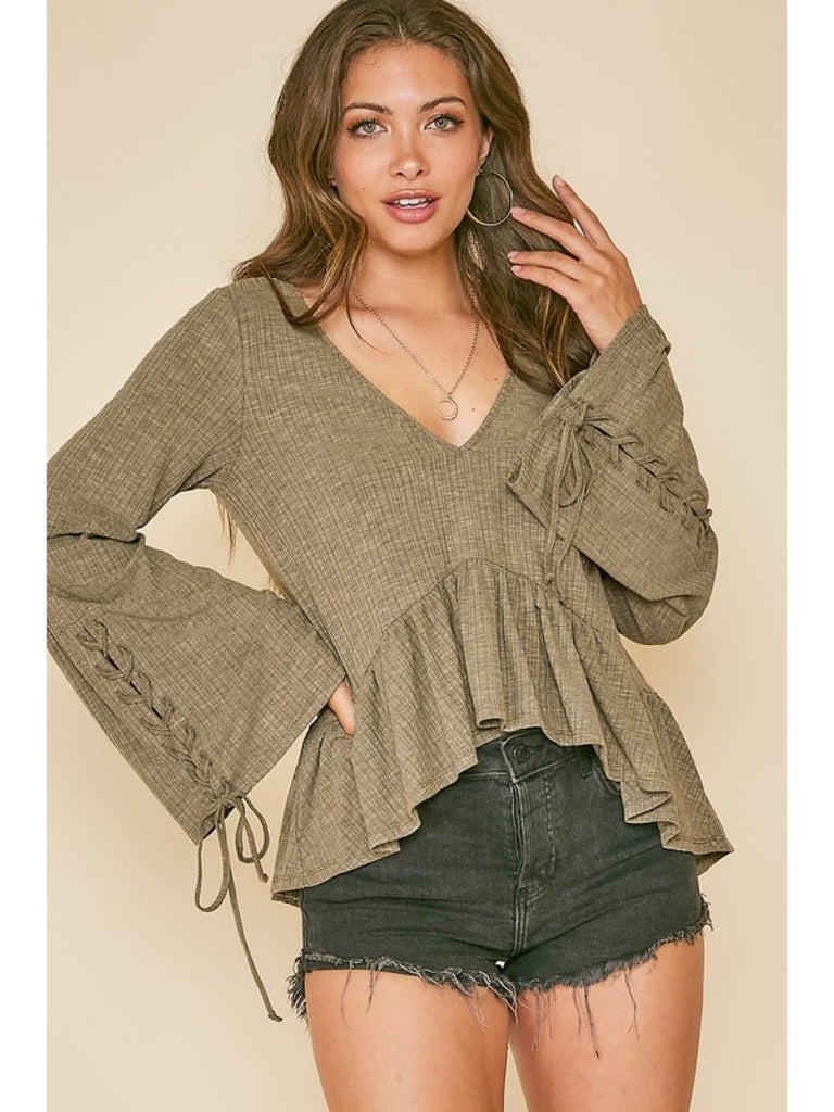 Strappy Bell Sleeve Ribbed Knit Top