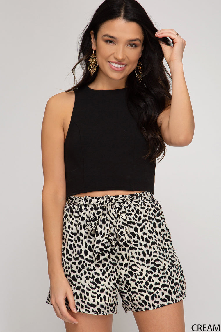LEOPARD PRINT WOVEN PAPERBAG SHORTS