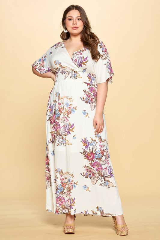 Floral Printed Wrap Maxi Dress