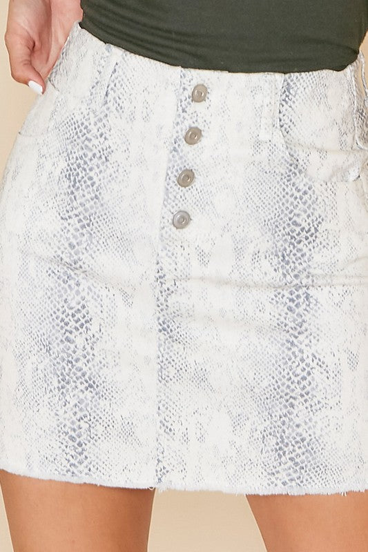 Animal Printed Button-Front Denim Skirt