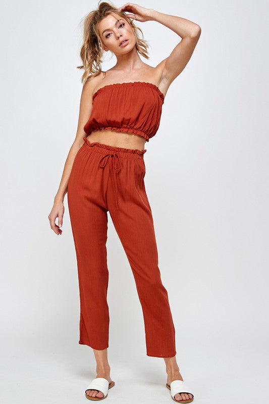 SOLID CROP TUBE TOP AND PANT SET