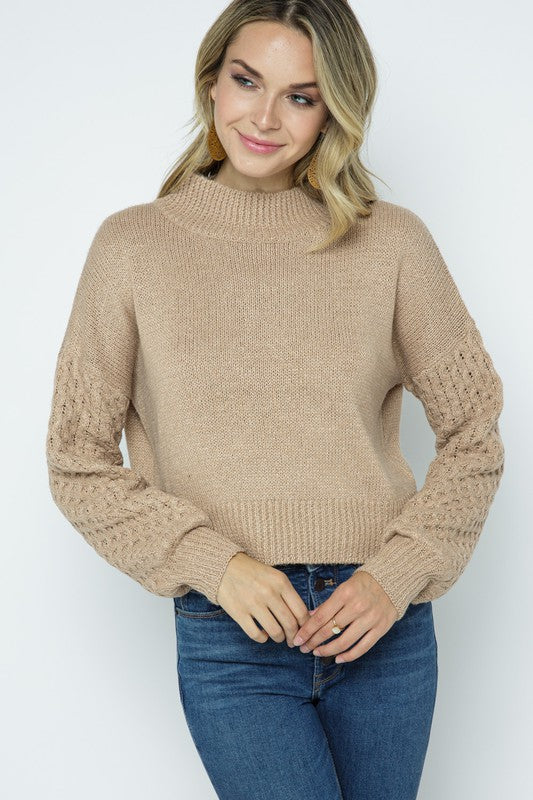 Lantern Sleeve Pullover w/ Waffle Knit Sleeve