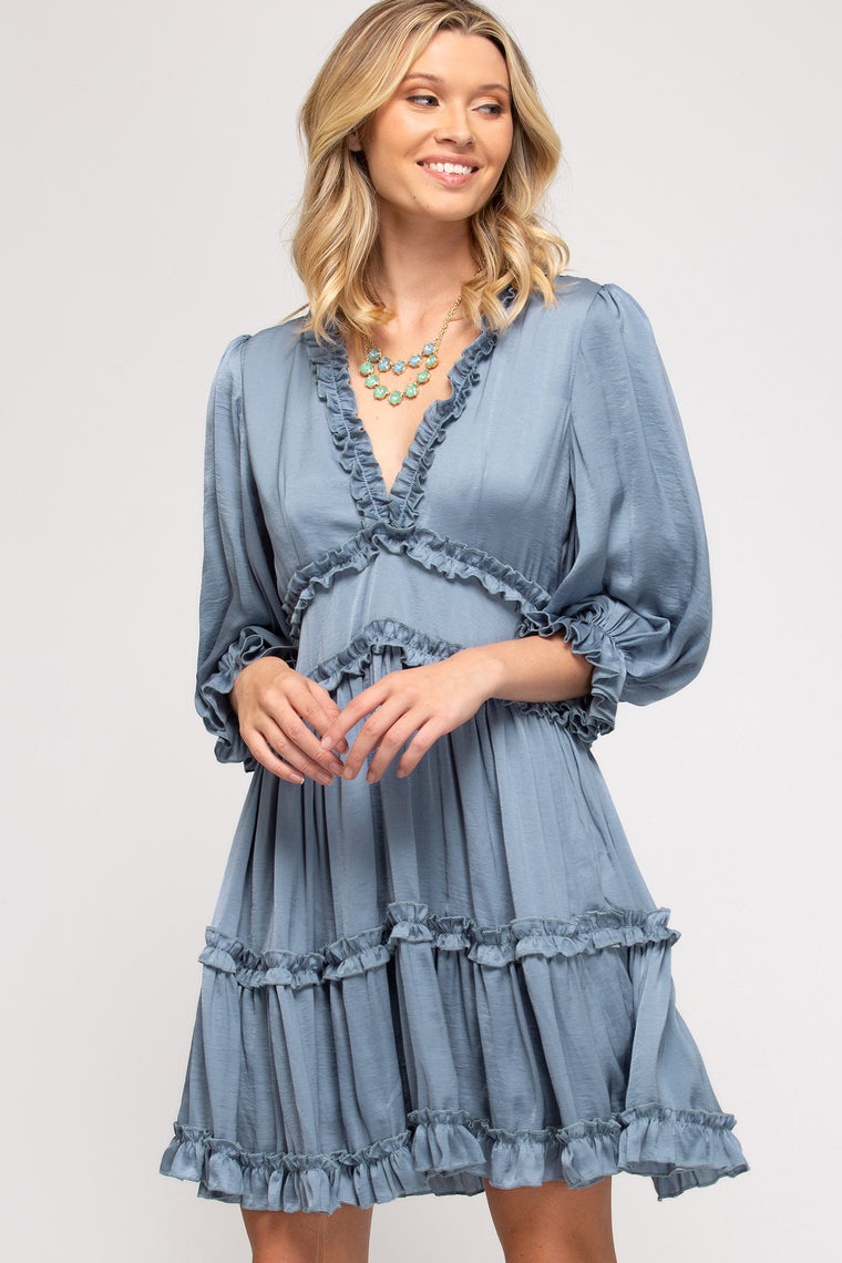 3/4 SLEEVE WOVEN SATIN TIERED DRESS WITH RUFFLE DETAILS