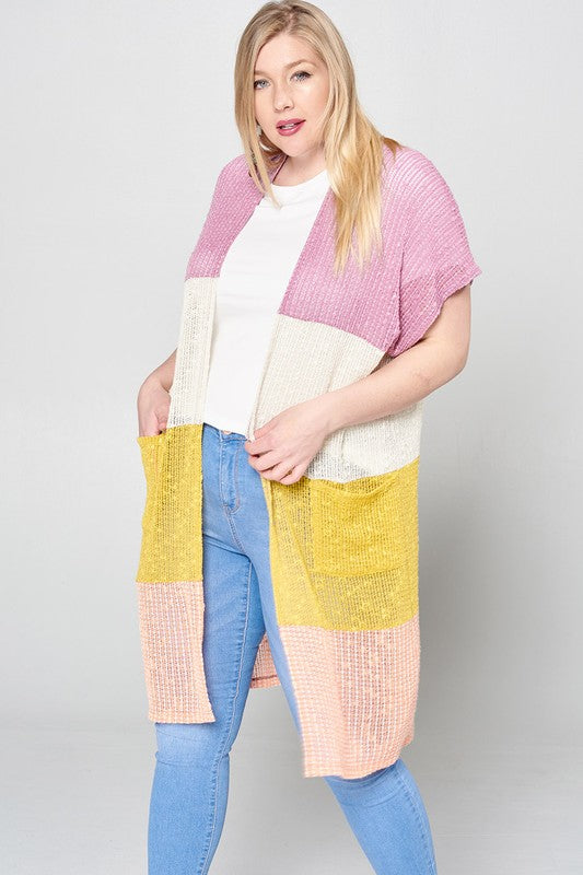 Color-Blocked Knit Open-Front Cardigan