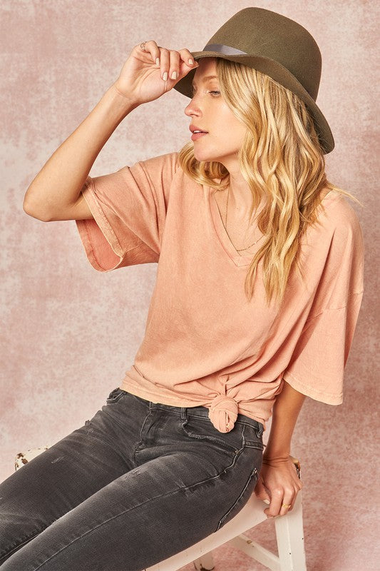 Oversized Mineral Washed V-Neck T-Shirt