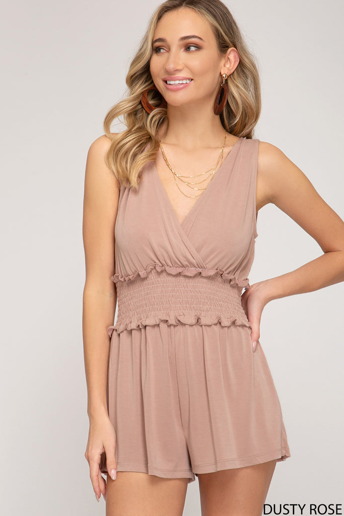 SLEEVELESS MODAL CUPRO SMOCKED ROMPER