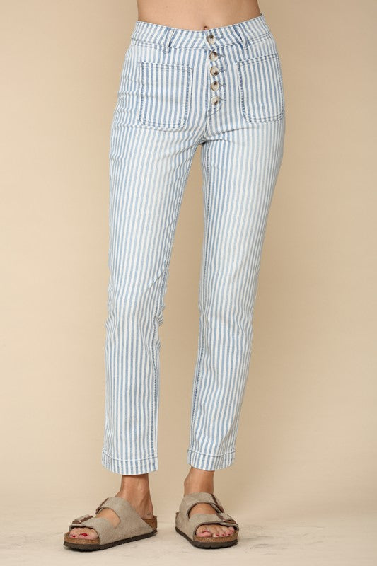 Vertical striped button front & pocket front denim jeans