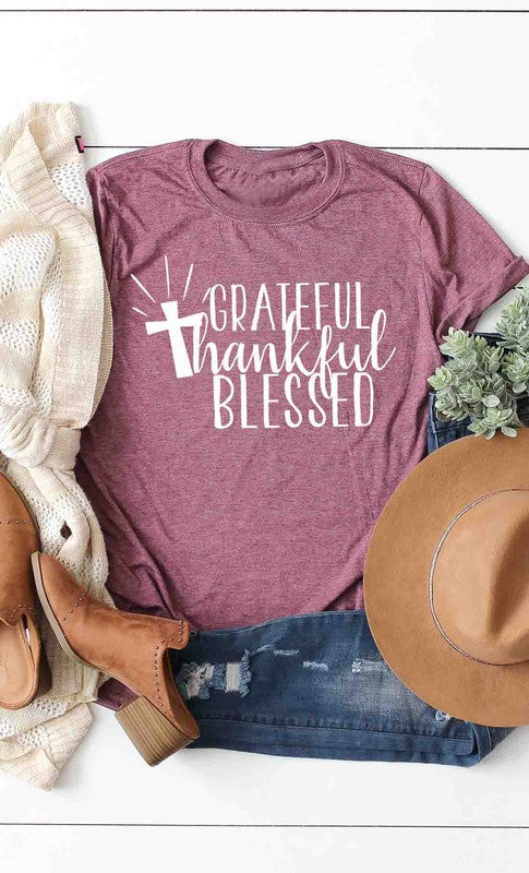 Grateful,thankful,blessed with cross graphic tee