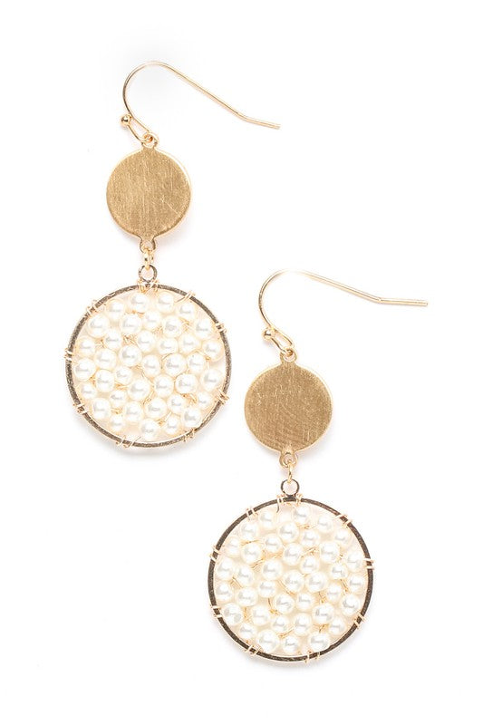 Pearly Beaded Disc Dangle Earrings