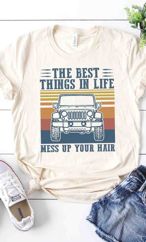 Jeep life messy hair graphic tee
