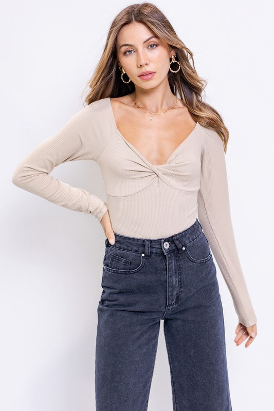 FRONT TWIST LONG SLEEVE BODYSUIT