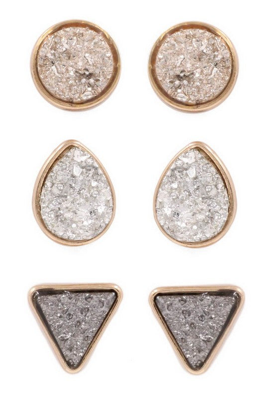 Druzy stone circle, teadrop, triangle earring set