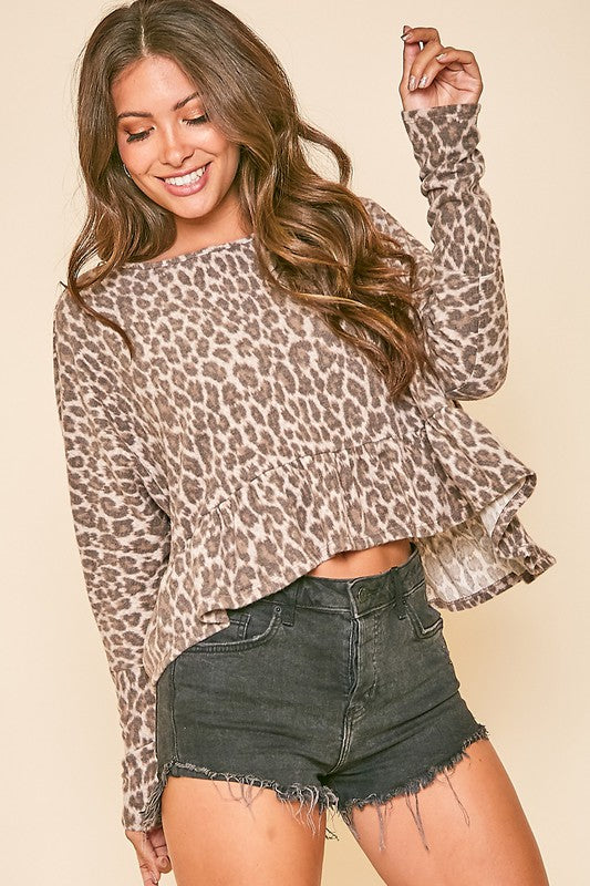 Long Sleeve Leopard Print Ruffle Peplum Top/Final Sale