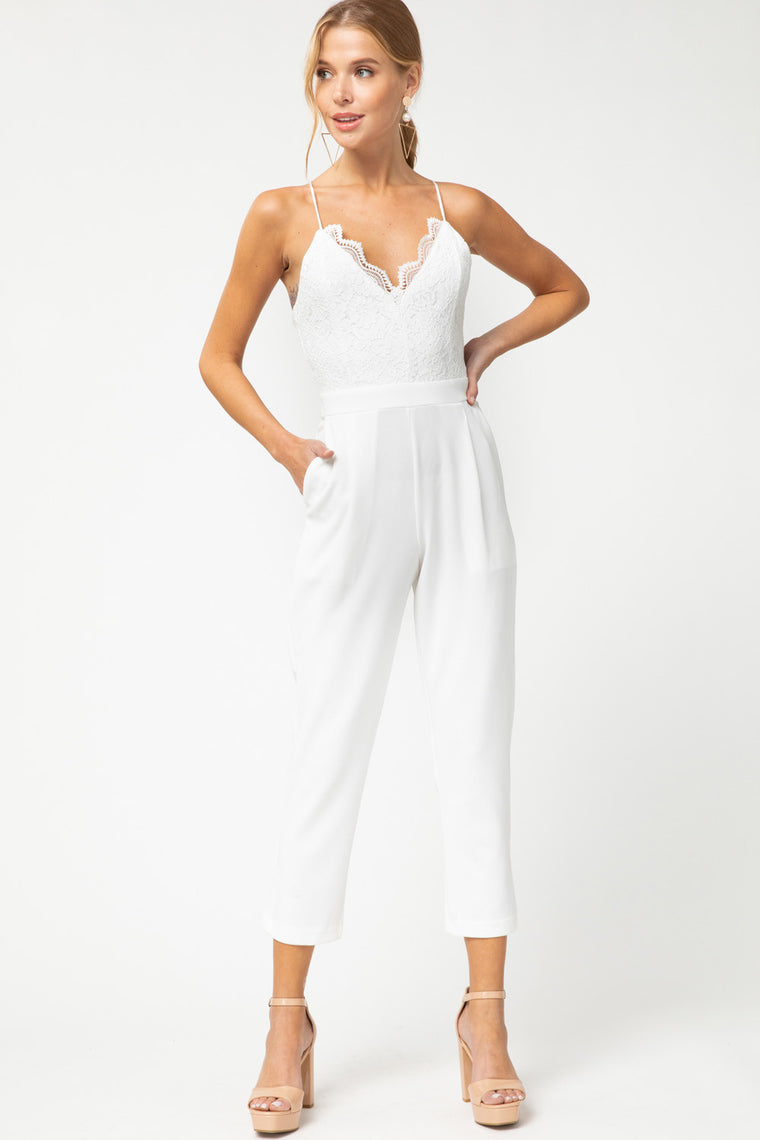 Lace cropped jumpsuit