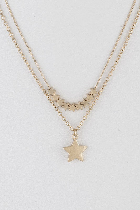 Double Chain Layered Star Pendant Necklace