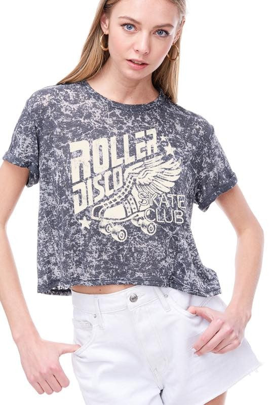 ROLLER DISCO VINTAGE GRAPHIC CROPPED BURNOUT TOP