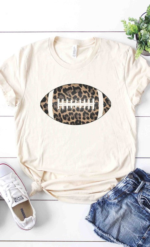 Leopard football graphic tee