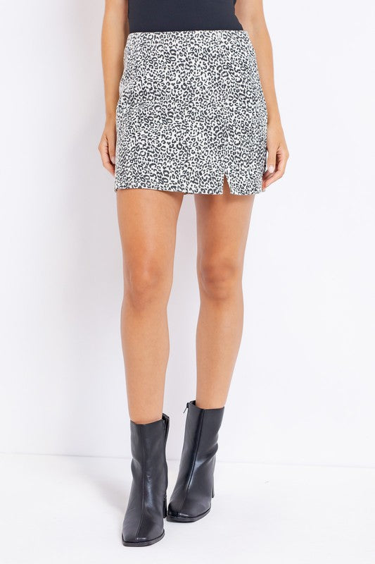 LEOPARD TWILL SKIRT WITH FRONT SLIT