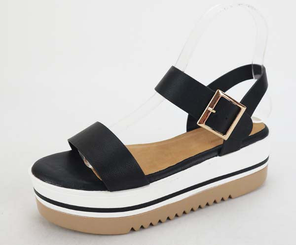 Bamboo Ankle Strap Wedge Platform Sandals