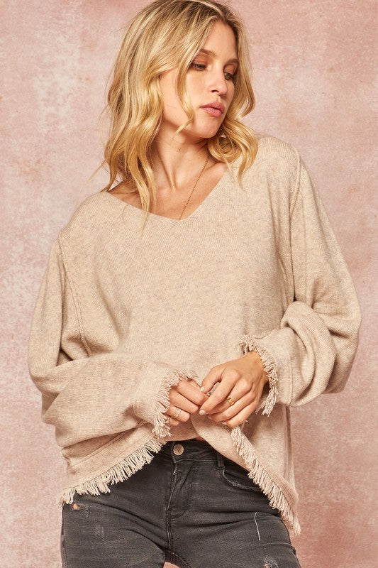 Fringe-Trimmed Knit V-Neck Exposed Seam Sweater